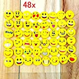 JZK 48 x Novelty erasers smile laughing shy emoji rubbers, cute gifts for birthday kids party festival new year Christmas, yellow