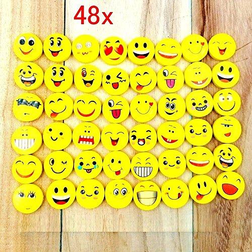 Express-geschenk-set (JZK Set von 48 Stücke Emoji Kinder Radiergummi Smiley Radierer, Spielzeug Gastgeschenk Geschenke für Geburtstag Party Festival neues Jahr Weihnachten, gelb)