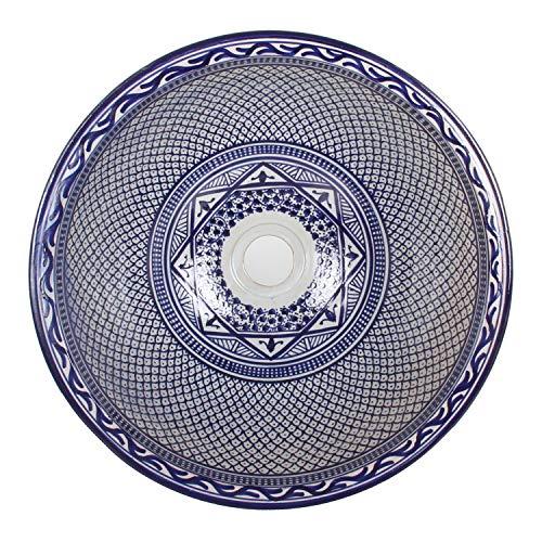 Mediterrane Keramik-Waschbecken Fes106 rund Ø 40 cm bunt Höhe 18 cm Handmade Waschschale | Marokkanische Handwaschbecken Aufsatzwaschbecken für Bad Waschtisch Gäste-WC