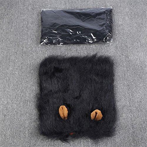 Schwarze Kostüm Löwenmähne - Hundekostüm Löwenmähne Verstellbar Hunde Perücke Haustier Kostüm Löwe Mähne Perücke lustige Löwenkopf Haarschmuck (schwarz mit Ohren)