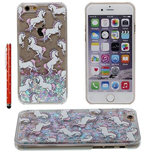 iPhone 7 Plus Case Liquide Eau Coque, Transparente Dur Étui Protection avec Écoulement Étoiles Glitter Poudre Désign pour Apple iPhone 7 Plus 5.5 inch, Cheval Blanc Motif Case Avec 1 stylet color-1