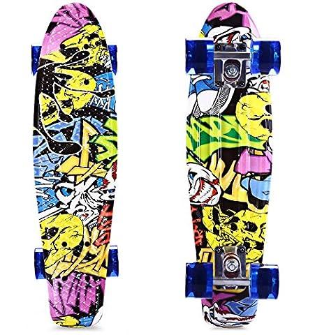 VISIsland CL - 85 22 inch Graffiti Hip-hop Skull Retro Skateboard Longboard Mini Cruiser CL - 85