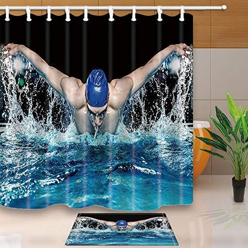 Support-200 Caps (gohebe Sports Decor muskul?ser Mann in blau Cap in Schwimmbad 180x180cm Schimmelresistent Polyester Stoff Vorhang f¨¹r die Dusche Anzug mit 39,9x59,9cm Flanell rutschfeste Boden Fu?matte Bad Teppiche)