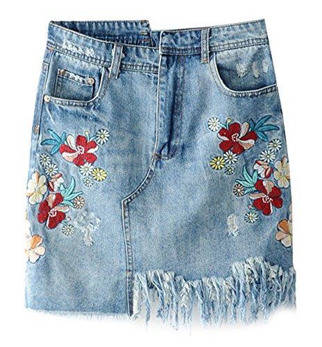 SCOFEEL Damen Hohe Taille Gestickt Zerrissen Mini Denim Röcke Unregelmäßig Kurz Jeansröcke -