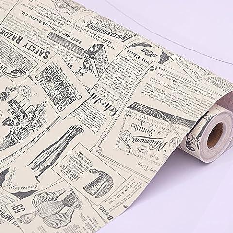 LoveFaye Old Fashion Newspaper Contact Paper Roll Peel Stick Shelf Drawer Liner Locker Sticker 17.7 Inch by 13