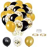 Elion Globos de Fiesta, Globos de Latex, Globos de Oro Negro, 60 Piezas Globos Helio de Confeti para Decoraciones de Cumpleañ