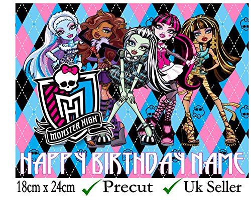 Monster High Inspirado comestible decoración para tarta para glaseado troquelada – personalizar en la sección de (revisar su orden) 'añadir opciones de regalo', 3. Rectangle 24cm x 18cm