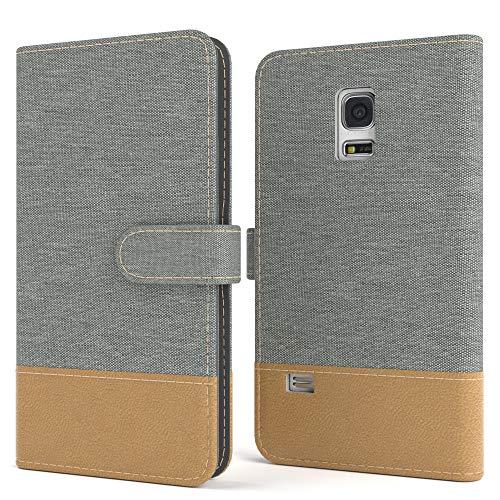 EAZY CASE Tasche für Samsung Galaxy S5 Mini Stoff Schutzhülle mit Standfunktion Klapphülle im Bookstyle, Handytasche Handyhülle Flip Cover mit Magnetverschluss und Kartenfach, Kunstleder, Hellgrau