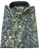 Relco Blue/Lime Paisley Cotton Long Sleeved Retro Mod Button Down Shirts