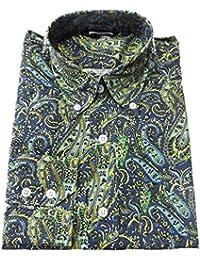 Relco Bleu/vert citron/motif cachemire rétro en coton à manches longues Motif Bouton chemise