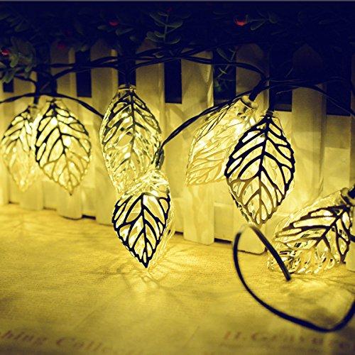 KINGCOO Geometrische Schnur Lichter Außen,15.7FT 20LEDWarmweiß Beleuchtung Metall Ambiente Ornament Solar Dekorative Lichterketten für Schlafzimmer Garten Hochzeit(Blatt) -