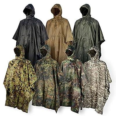 JTENG® Regen Poncho wasserdicht, Rip-Stop, PVC, Realtree Camouflage für die Jagd Camping Militär und den täglichen Gebrauch mit Not Grommet Ecken für Schutz Einsatz