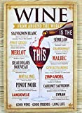 Tin Sign Wine From Around The World Wall Decor Wall Plaque Metal Poster Home Bar Pub 20X30 cm