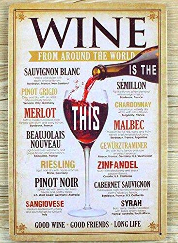 Blechschild Wein aus der ganzen Welt wall decor Wandschild Metall Poster Home Bar Pub 20x 30cm