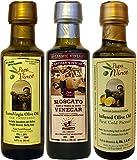 Papa Vince Set regalo Olio Extra Vergine d'oliva - | Olio di oliva al limone | Aceto Siciliano artigianale balsamico invecchiato 8 anni in legno | Olio Extravergine di oliva Raccolta 2017/2018 dalla nostra famiglia in Sicilia, Italia | 90 ml ciascuno