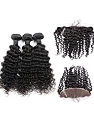 VKHair 3 Tissages 141618 et 14 Lace Frontale en lot- Curly/Deep Wave Bresilien Vierge Hair Meches Naturel...