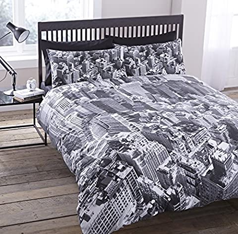 LUXURY NEW YORK CITY SKYLINE MANHATTAN SCENERY VIEW PHOTOGRAPHIC DUVET SET QUILT COVER BEDDING (King Size) by Pieridae