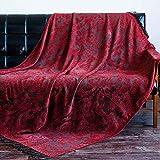 Atmungsaktiv Vintage amerikanischen Land Freizeit Decke Gobelin Sofakissen Decke Aztec Sofa Handtuch Decke dekorative Decke Bettdecke (Farbe: rot, Größe: 125 * 170 cm) für Stühle