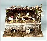 Stalla con polli e conigli 20x14x12cm