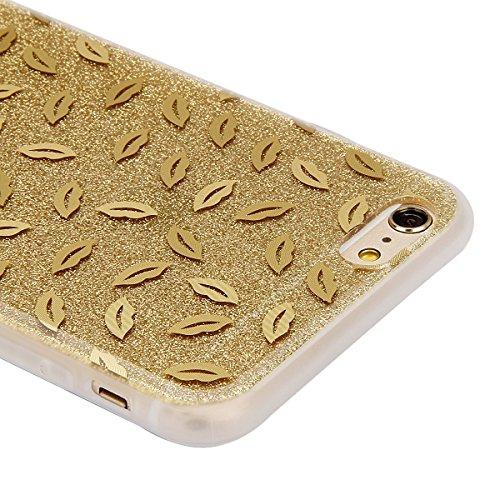 Coque Etui pour Apple iPhone 6 Plus/6S Plus, iPhone 6S Plus Coque Silicone Cerise Motif Etui, iPhone 6 Coque en Silicone Ultra-Mince Etui Housse avec Bling Diamant,iPhone 6 Plus/ 6S Plus Silicone Case or-rouge à lèvres