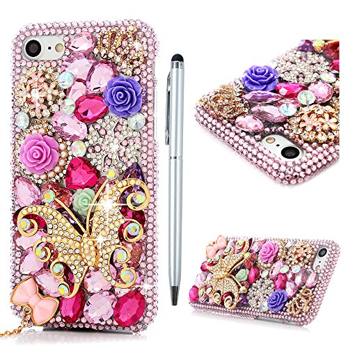 "iPhone 7 Custodia Bling Glitter 3D DIY Strass Trasparente Rigida Plastica Hard - MAXFE.CO Case Cover Shock-Absorption Bumper,Duro Plastica PC Protettiva,Cristallo Diamante per Cover iPhone 7 4.7"" - Perla,corona imperiale,farfalle,fiori"