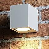 Kleine kompakte Außenleuchte eckig für die Wand in weiß Gu10 Strahler Wandlampe Außenlampe Beleuchtung Wandstrahler