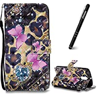 Motorola Moto G4 Case, Moto G4 Plus Leather Case, Slynmax 3D Printing Pink Butterfly Design Flip Folio PU Leather Wallet Case Inner Soft TPU Cover with Stand Function Hand Strap Card Holders Magnetic Closure Ultra Thin Book Style Shock Resistant Protectiv