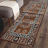 The Home Talk Traditional Design Bedside Runner/Rug/Passage Rug, 50 x 150 cm, Vascose, Soft- Camel
