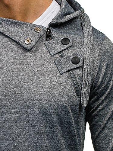 BOLF Herren Sweatjacke Kapuzenpullover Sweatshirt Hoodie Mix 1A1 Langarmshirt Grau_7095