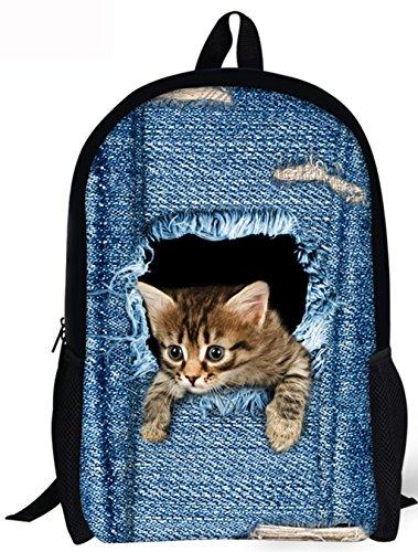 3D Animal Prints Katze Schulrucksack Vintage Denim Rucksack Teenager Jeans Rucksack Casual Daypacks für Outdoor Universität Sports Katze Blau