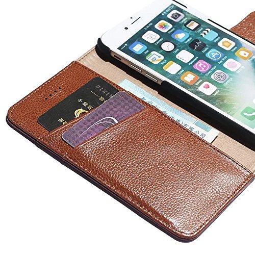 EKINHUI Case Cover Luxus Echtleder Fall Horizontale Flip Folio Stand Pouch Brieftasche Fall Deckung mit magnetischen Wölbung & Card Slots für IPhone 7 ( Color : Rose ) Rose