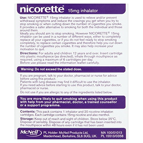 Nicorette Inhalator 15 mg, 20 Cartridges