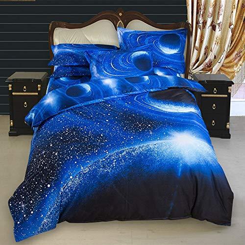 Bettbezug Set Galaxie Star Bettwäsche Set 3 Stück mit Kissen Sham