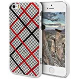 PLM Avanos Red Plaid Motiv - Apple iPhone 5S, iPhone 5 Hülle Schale Case Back Cover Opal-Weiss (Milchglas)