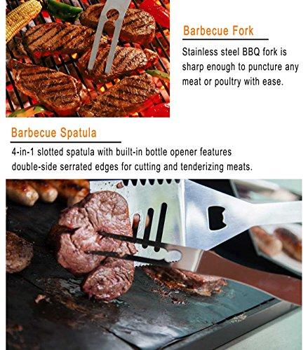 61Fhhsy 9FL - grilljoy Grillbesteck Set, 25er Edelstahl Grillzubehör im Etui, Premium Komplett Outdoor Grill Utensil Geschenke Set für Mann Frau