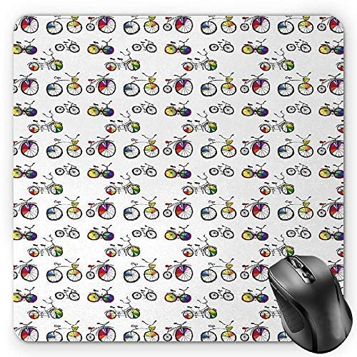 Bicycle Mouse Pad, Hand Drawn Penny-Farthing Tandem and City Bikes with Colored Rims Cartoon Style Gaming Mousepad Office Mouse Mat Multicolor Multi Color Rim