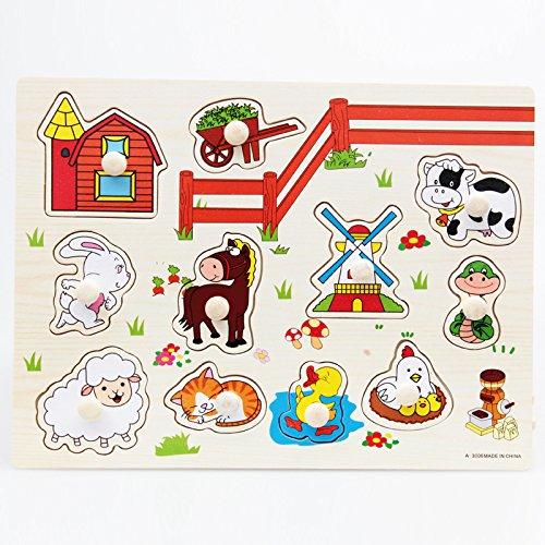Juguete de Puzzle Preescolar Animales de Granja Madera en Forma de Paridad Bebés Niños