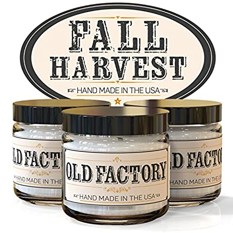Scented Candles - Fall Harvest - Set of 3: Pumpkin Spice, Cranberry, and Autumn Leaves - 3 x 4-Ounce Soy Candles