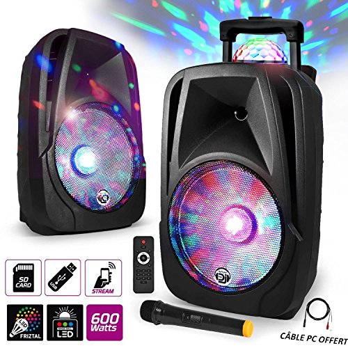 'Lautsprecher Mobile Sono DJ PA Karaoke 600W 12LED USB/BT/SD/PC + Micro VHF + Effekt MagicBall friztal drehbar