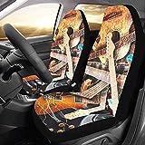 KDU Fashion Auto Car Seat Cover,Jazz Rock Cool Guitarra Eléctrica para Niño Fundas De Asiento De Conductor Delantero Conductor De Automóvil 2pcs