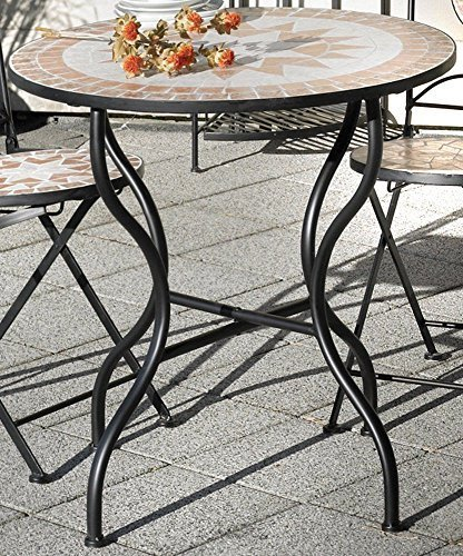 Gartentisch Florenza, Mosaik Möbel im Mediterrane Stil, Tisch Rund 70 cm.