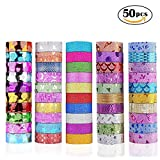 Washi Tape Set 50 Rollen Deko DIY Tapes für Kunst und Handwerk Glitter Washi Tape