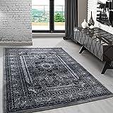 Klassiche orient Teppiche für Wohnzimmer, Esszimmer, Gästezimmer,kurzflor gemustert orient Medaillon Barock design,moderne Farben Grau_0207, Maße:80x150 cm