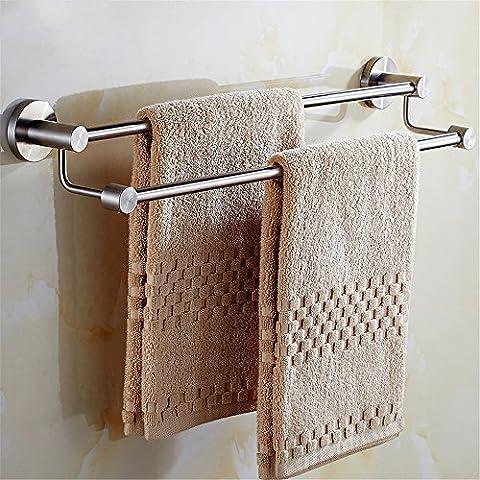 ZLYAYA--Porte-serviettes,Crochets de serviette ,Perforation libre 304 brushed salle de bains avec sèche-serviettes longue tige de suspension double tige, 80cm Anneaux de serviette,Tablettes Porte-serviette