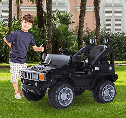 Homcom - Macchinina Elettrica per Bambini Modello Jeep con MP3 e Certificato CE, EN71-1-2-3, EMC, EN62115, 108 × 71 × 75cm Nero