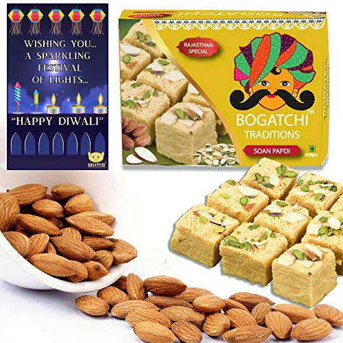 BOGATCHI Diwali Gift Combo – Soan Papdi, 250g and Natural Roasted Almonds, 100g