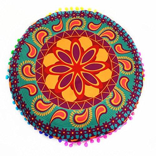 Vovotrade Caso della copertura Cuscini Cuscini Bella indiana Mandala Floor cuscini rotondi Cuscino Bohemian (C)