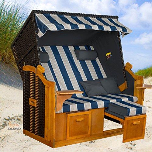Strandkorb BALTIC-R BLW XXL, anthrazit, blau-weiß-grauer gestreifter Bezug, von LILIMO 4