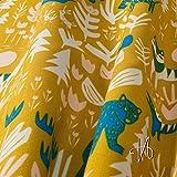 MIRABLAU DESIGN Stoffverkauf bio Baumwolle gelb Popeline GOTS Tiere im Wald auf gelb (16-078M) 0,5m