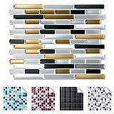 Wandaro 4er Pack 27,9 x 23,4 cm Dunkelgrau Kupfer Silber Design 7 I 3D Fliesenaufkleber Ziegel große Auswahl für Küche Bad Fliesenfolie Selbstklebend Wandaufkleber W3329